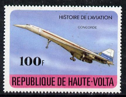 Upper Volta 1978 Concorde 100f (from History of Aviation set) unmounted mint, SG 479*