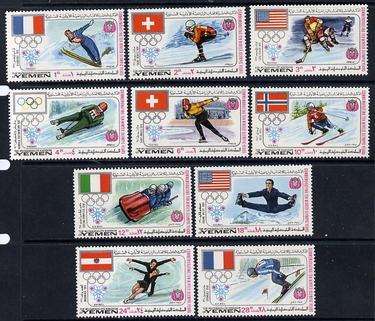 Yemen - Royalist 1968 Winter Olympics set of 10 unmounted mint (Mi 529-38A)