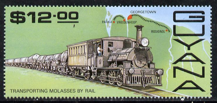 Guyana 1987 Railways $12 (Molasses Train) unmounted mint, SG 2213, stamps on food, stamps on railways, stamps on maps, stamps on sugar