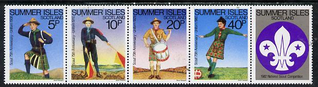 Summer Isles (British Local) 1982 75th Anniversary of Scouting strip of 4 plus label, unmounted mint