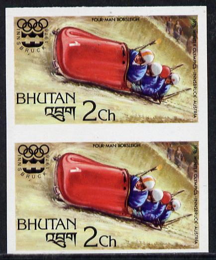 Bhutan 1976 Innsbruck Winter Olympics 2ch (Bobsleighing) imperf pair from limited printing unmounted mint, as SG 338*
