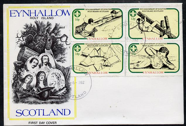 Eynhallow 1982 75th Anniversary of Scouting perf set of 4 on cover with first day cancel
