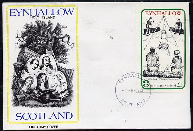 Eynhallow 1982 75th Anniversary of Scouting imperf souvenir sheet (\A31 value showing Campfire) on cover with first day cancel