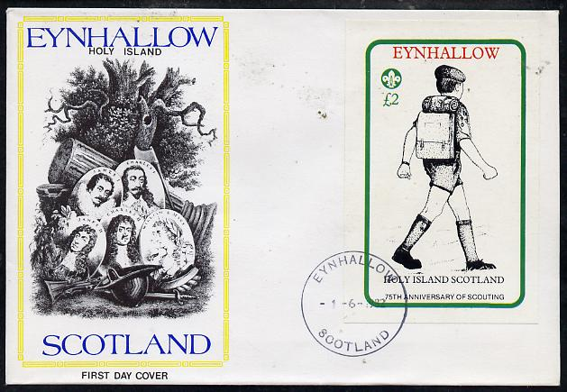 Eynhallow 1982 75th Anniversary of Scouting imperf deluxe sheet (\A32 value showing Scout with Back-pack) on cover with first day cancel