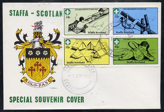 Staffa 1982 75th Anniversary of Scouting perf set of 4 on cover with first day cancel