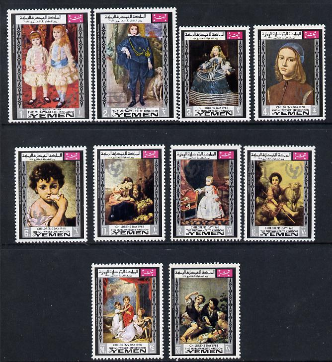 Yemen - Royalist 1968 Paintings (Children's Day) set of 10 unmounted mint (Mi 594-603A)