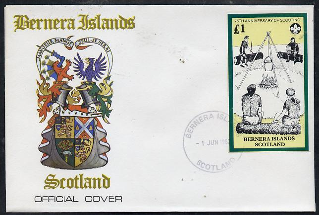 Bernera 1982 75th Anniversary of Scouting imperf souvenir sheet (\A31 value showing Campfire) on cover with first day cancel