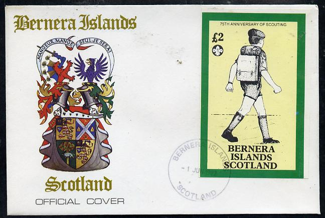 Bernera 1982 75th Anniversary of Scouting imperf deluxe sheet (\A32 value showing Scout with Back-pack) on cover with first day cancel