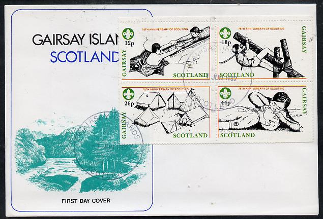 Gairsay 1982 75th Anniversary of Scouting perf set of 4 on cover with first day cancel
