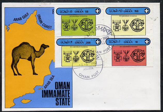 Oman 1982 75th Anniversary of Scouting perf set of 4 on cover with first day cancel
