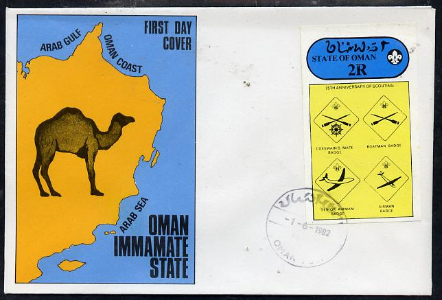 Oman 1982 75th Anniversary of Scouting imperf souvenir sheet (2R value showing Badges) on cover with first day cancel