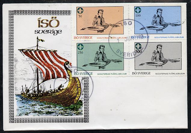 Iso - Sweden 1982 75th Anniversary of Scouting perf set of 4 on cover with first day cancel