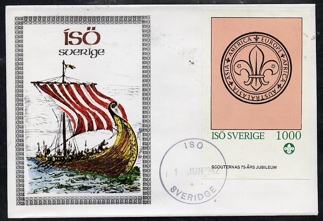 Iso - Sweden 1982 75th Anniversary of Scouting imperf deluxe sheet (1000 value showing Scout Badge) on cover with first day cancel