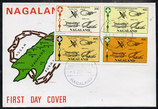 Nagaland 1982 75th Anniversary of Scouting perf set of 4 on cover with first day cancel