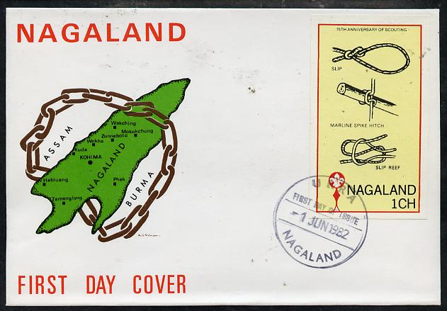 Nagaland 1982 75th Anniversary of Scouting imperf souvenir sheet (1ch value showing Knots) on cover with first day cancel