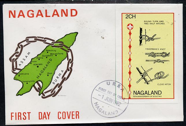 Nagaland 1982 75th Anniversary of Scouting imperf deluxe sheet (2ch value showing Knots) on cover with first day cancel
