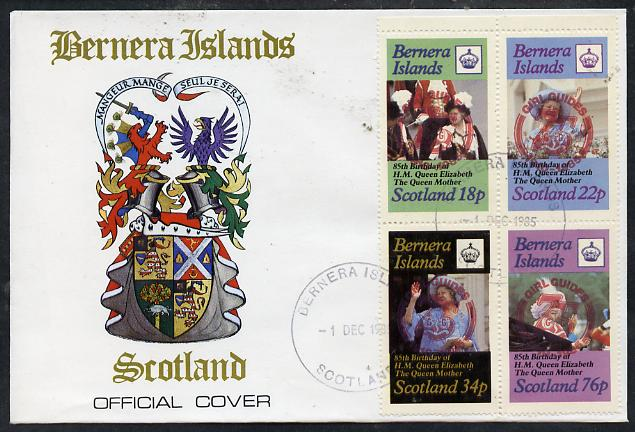 Bernera 1985 Life & Times of HM Queen Mother perf set of 4 with Girl Guide 75th Anniversary opt in red, on cover with first day cancel