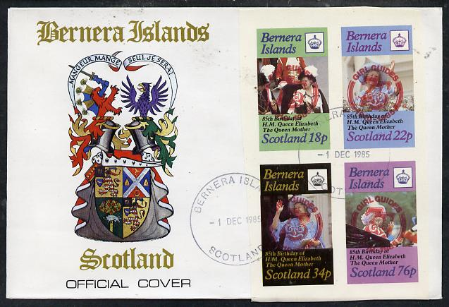 Bernera 1985 Life & Times of HM Queen Mother imperf set of 4 with Girl Guide 75th Anniversary opt in red, on cover with first day cancel