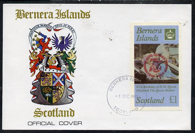 Bernera 1985 Life & Times of HM Queen Mother imperf souvenir sheet (\A31 value) with Girl Guide 75th Anniversary opt in red, on cover with first day cancel
