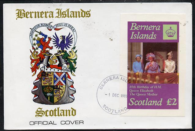 Bernera 1985 Life & Times of HM Queen Mother imperf deluxe sheet (\A32 value) with Girl Guide 75th Anniversary opt in red, on cover with first day cancel