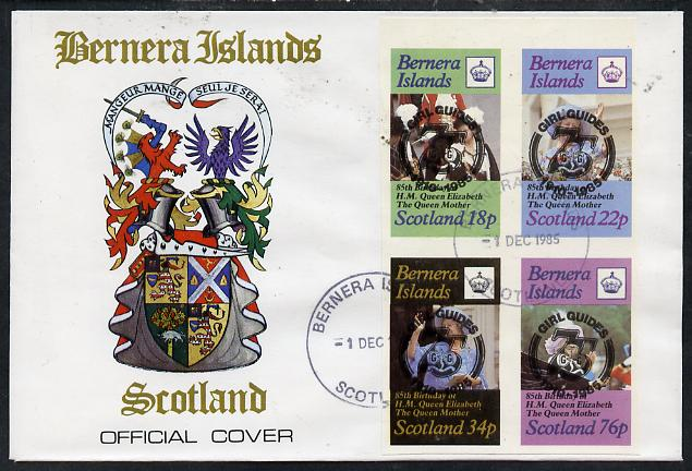 Bernera 1985 Life & Times of HM Queen Mother imperf set of 4 with Girl Guide 75th Anniversary opt in black, on cover with first day cancel