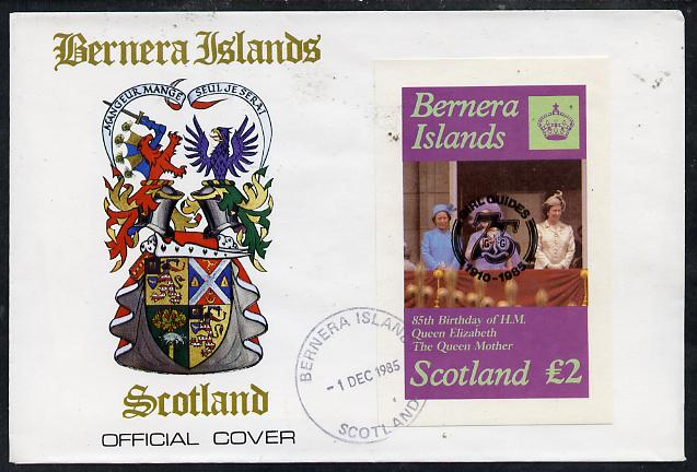 Bernera 1985 Life & Times of HM Queen Mother imperf deluxe sheet (\A32 value) with Girl Guide 75th Anniversary opt in black, on cover with first day cancel