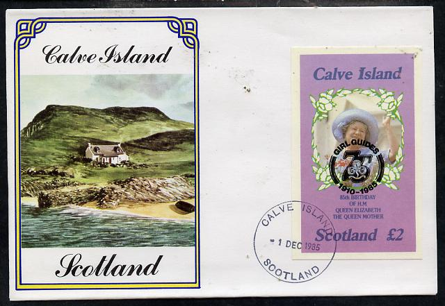 Calve Island 1985 Life & Times of HM Queen Mother imperf deluxe sheet (\A32 value) with Girl Guide 75th Anniversary opt in black, on cover with first day cancel