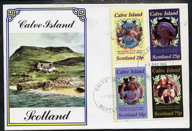 Calve Island 1985 Life & Times of HM Queen Mother perf set of 4 with Girl Guide 75th Anniversary opt in red, on cover with first day cancel, stamps on scouts, stamps on royalty, stamps on queen mother