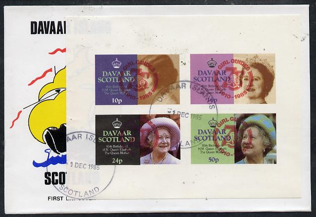 Davaar Island 1985 Life & Times of HM Queen Mother imperf set of 4 with Girl Guide 75th Anniversary opt in red, on cover with first day cancel