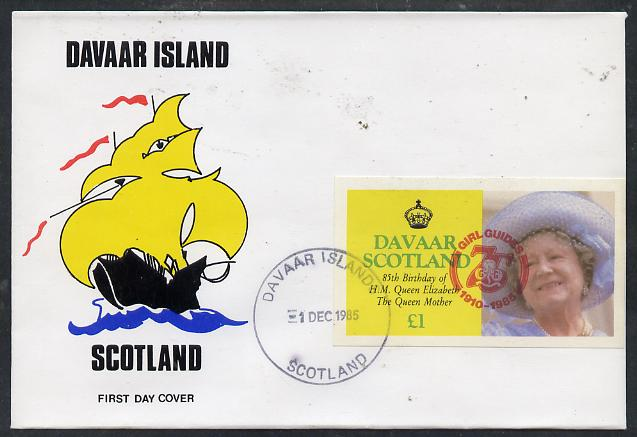 Davaar Island 1985 Life & Times of HM Queen Mother imperf souvenir sheet (\A31 value) with Girl Guide 75th Anniversary opt in red, on cover with first day cancel