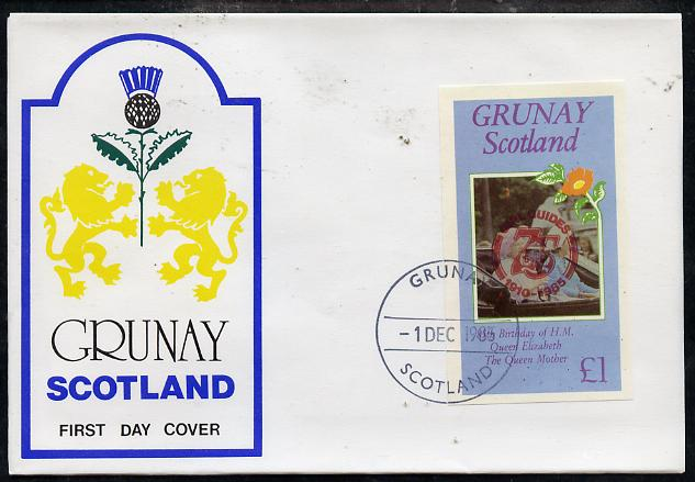 Grunay 1985 Life & Times of HM Queen Mother imperf souvenir sheet (\A31 value) with Girl Guide 75th Anniversary opt in red, on cover with first day cancel
