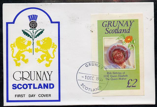 Grunay 1985 Life & Times of HM Queen Mother imperf deluxe sheet (\A32 value) with Girl Guide 75th Anniversary opt in red, on cover with first day cancel
