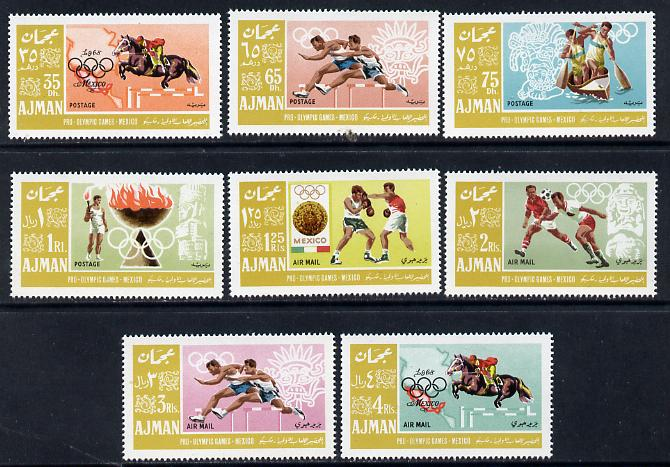 Ajman 1967 Mexico Olympics perf set of 8 unmounted mint, Mi 189-96A