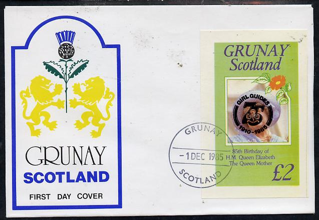 Grunay 1985 Life & Times of HM Queen Mother imperf deluxe sheet (\A32 value) with Girl Guide 75th Anniversary opt in black, on cover with first day cancel