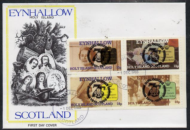 Eynhallow 1985 Life & Times of HM Queen Mother perf set of 4 with Girl Guide 75th Anniversary opt in black, on cover with first day cancel