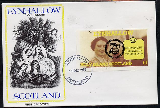 Eynhallow 1985 Life & Times of HM Queen Mother imperf souvenir sheet (\A31 value) with Girl Guide 75th Anniversary opt in black, on cover with first day cancel