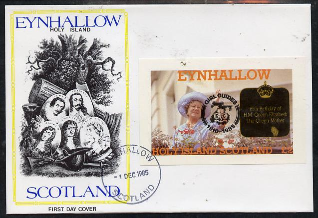 Eynhallow 1985 Life & Times of HM Queen Mother imperf deluxe sheet (\A32 value) with Girl Guide 75th Anniversary opt in black, on cover with first day cancel