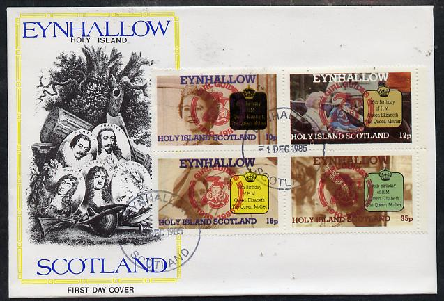Eynhallow 1985 Life & Times of HM Queen Mother perf set of 4 with Girl Guide 75th Anniversary opt in red, on cover with first day cancel