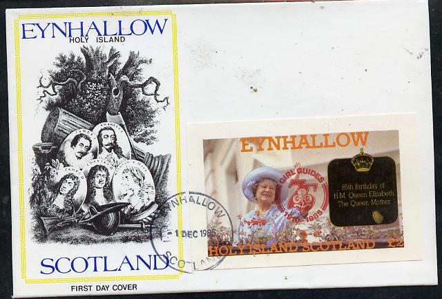 Eynhallow 1985 Life & Times of HM Queen Mother imperf deluxe sheet (\A32 value) with Girl Guide 75th Anniversary opt in red, on cover with first day cancel