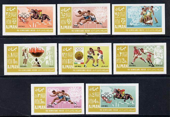Ajman 1967 Mexico Olympics imperf set of 8 unmounted mint, Mi 189-96B