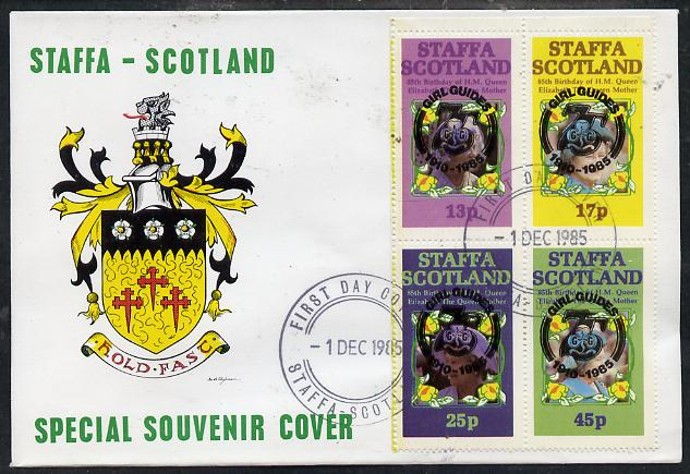 Staffa 1985 Life & Times of HM Queen Mother perf set of 4 with Girl Guide 75th Anniversary opt in black, on cover with first day cancel, stamps on scouts, stamps on royalty, stamps on queen mother