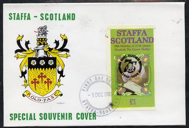 Staffa 1985 Life & Times of HM Queen Mother imperf souvenir sheet (\A31 value) with Girl Guide 75th Anniversary opt in black, on cover with first day cancel