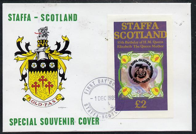 Staffa 1985 Life & Times of HM Queen Mother imperf deluxe sheet (\A32 value) with Girl Guide 75th Anniversary opt in black, on cover with first day cancel