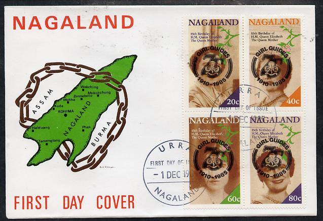 Nagaland 1985 Life & Times of HM Queen Mother perf set of 4 with Girl Guide 75th Anniversary opt in black, on cover with first day cancel