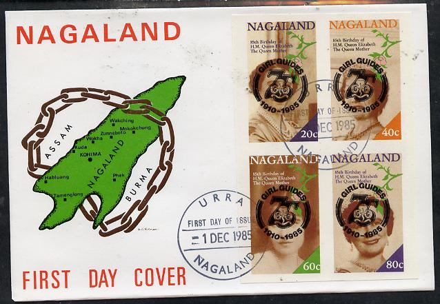 Nagaland 1985 Life & Times of HM Queen Mother imperf set of 4 with Girl Guide 75th Anniversary opt in black, on cover with first day cancel