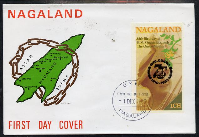 Nagaland 1985 Life & Times of HM Queen Mother imperf souvenir sheet (1ch value) with Girl Guide 75th Anniversary opt in black, on cover with first day cancel
