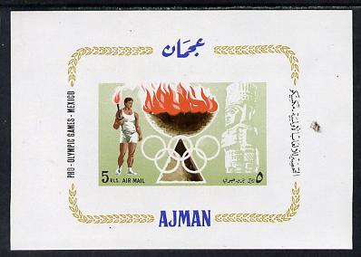 Ajman 1967 Mexico Olympics imperf m/sheet unmounted mint (Mi BL 16)
