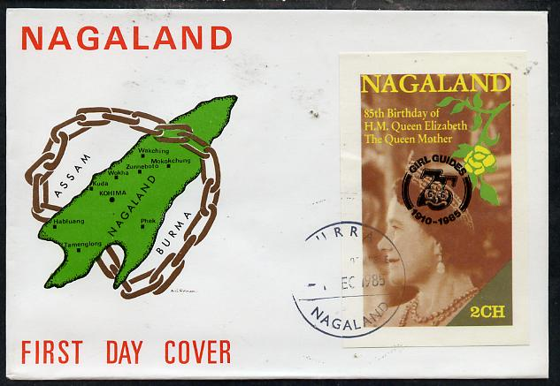 Nagaland 1985 Life & Times of HM Queen Mother imperf deluxe sheet (2ch value) with Girl Guide 75th Anniversary opt in black, on cover with first day cancel