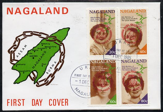 Nagaland 1985 Life & Times of HM Queen Mother perf set of 4 with Girl Guide 75th Anniversary opt in red, on cover with first day cancel