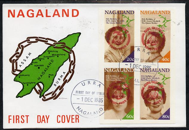 Nagaland 1985 Life & Times of HM Queen Mother imperf set of 4 with Girl Guide 75th Anniversary opt in red, on cover with first day cancel